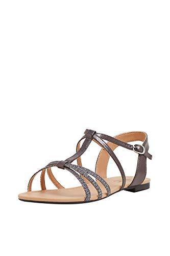 ESPRIT Sandale mit Glitter, in Leder-Optik