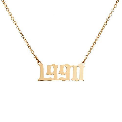 Anfangsjahr Anzahl Halsketten, Geburtsjahr Anzahl Halskette altes Englisch Silber Anhänger Geburtstagsgeschenk für Frauen Mädchen, (Chucky Girl Kostüm)