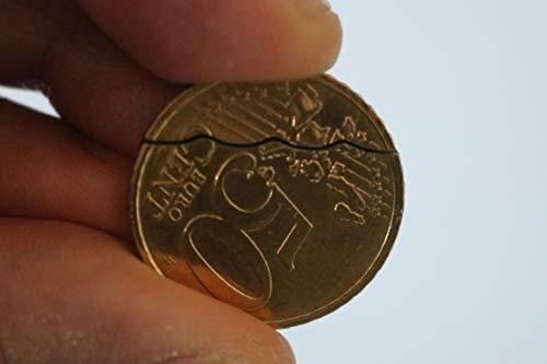 QUICK PICK MAGIC Bitten und Wiederhergestellte Münze 50c (50 Cent Euro Münze Biss Aus) David Blaine Magisch