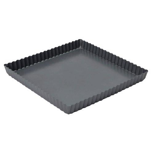 Baker's Pride Kuchenform für Quiches/ Tartes, 23 x 23 x 2,5 cm, quadratisch, mit Antihaftbeschichtung -
