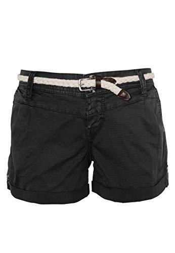 Eight2Nine Damen Shorts mit süßer Häkelspitze   Leichte Kurze Hose im Chino-Style mit Flechtgürtel Dark-Grey M
