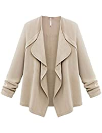097a81008af Hunputa Women s Cardigans Plus Size Solid Lightweight Open Front Waterfall  Draped Trench Coat Cardigan