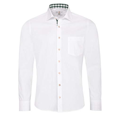 Almsach Herren Trachtenhemd Slim-Fit Slim-Line Trachten-Mode traditionell-kariert s-XXL in weiß, Größe:L, Farbe-Zweifarbig:Weiß/Tanne