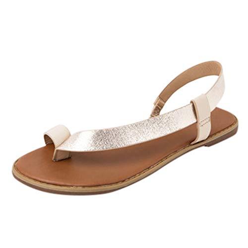 Mitlfuny Damen Sommer Sandalen Bohemian Flach Sandaletten Sommer Strand Schuhe,Frauen Sandalen Plattform Open Toe Gummiband Freizeitschuhe Beach Walk Schuhe (Cushe Womens Schuhe)