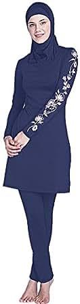YEESAM Muslimischen Badeanzug - Muslim Islamischen Bescheidene Badebekleidung Modest Swimwear Burkini für muslimische Frauen - Hijab abnehmbaren (Asien S ~ EU-Größe 34-36, Dunkelblau)