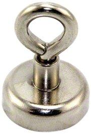 First4magnets F4ME25M5-EYE-1 Klemmung Neodym-Magneten mit Öse M5, 20 kg ziehen, Metall, Durchmesser 25 mm, silber, 25 x 10 x 3 cm