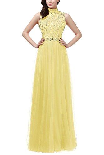 La_mia Braut Glamour Spitze High nech Abendkleider ballkleider Partykleider Bodenlang A-linie Festlich Gelb