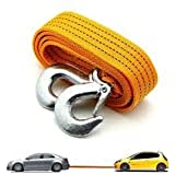STARVIN A-04 Car 3 Ton Towing Strap Rope with Dual Forged Hooks (Yellow, 4m)