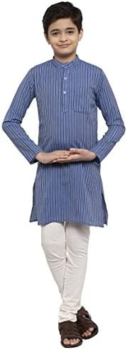 NEUDIS by Dhrohar Cotton Stripe Long Kurta & Churidar Pajama Set For Boys -
