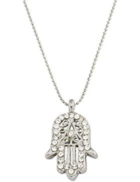 Remi Bijou Elegante Halskette Kette mit Anhänger - Fatimas Hand Buddha Hand Hamsa - Silber Farbe Zirkonia Strass