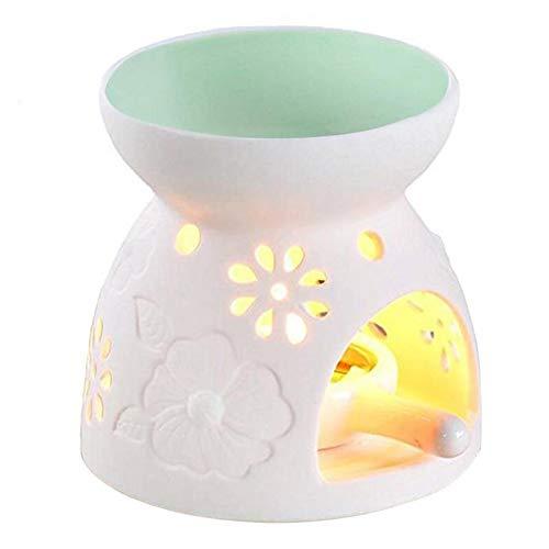 myonly Keramik Teelichthalter, Aromatherapie ätherisches Öl Wärmer Brenner Kerzenhalter Feuerung Diffusor Home Deko für Spa Yoga Meditation grün -