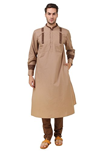 MyBatua Khaki & Brown Kurta Pyjama, Indische Herrenbekleidung, Nachtwäsche, Brautkleid KP-010 (XS)