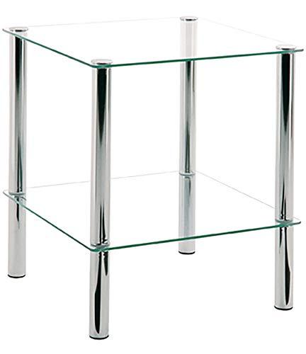 Haku Möbel Beistelltisch eckig - verchromtes Stahlrohr 2 Ablagen Sichterheitsglas H 47 cm -