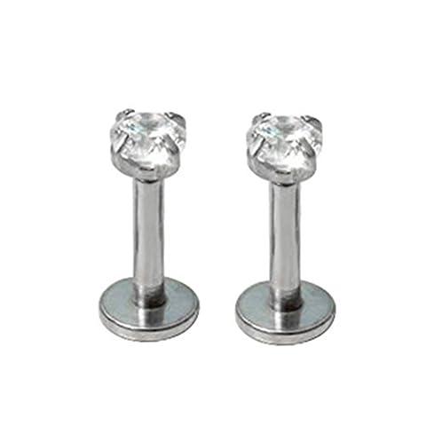 Une paire de zircone ronds pour tragus/Lèvre Monroe Piercing Oreille Cartilage Boucles d'oreilles clous
