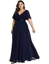 Ever-Pretty Robe de Soirée Longue Femme Double Col V Manche Courte Grande Taille 09890PL