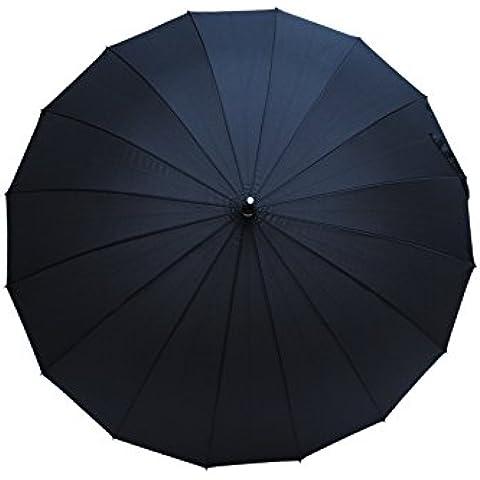 COLLAR AND CUFFS LONDON - Paraguas Clásicos - MUY FUERTE - Antiviento - Automático - Alta Ingeniería Para Luchar Contra El Daño Causado Por Giro - 16 Varillas Para La Fuerza Adicional - Negro