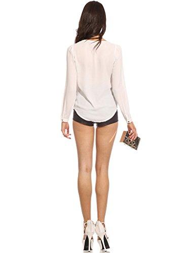 Bigood Femme T-shirt Chiffon V Col Blouse Chemise Slim Uni Blanc