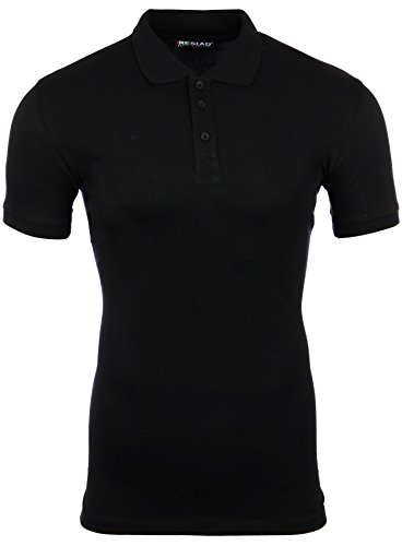 Reslad Poloshirt Herren Basic Slim Fit Kurzarm Pique Polo-Shirt RS-5090 Schwarz M (Pique-polo Top)