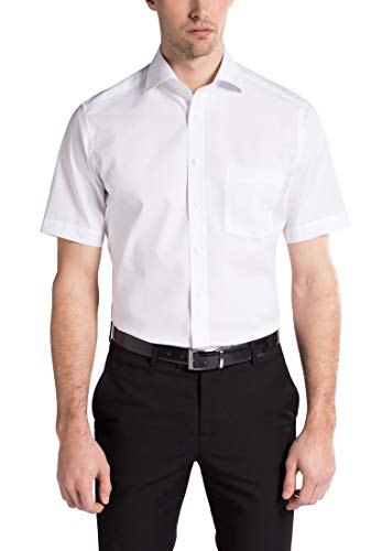 eterna Kurzarm Hemd Modern Fit Popeline Unifarben, Gr. 43, Weiß -