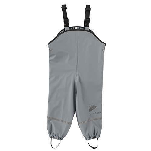 Sterntaler Baby-Jungen Pantaloni Impermeabili Sfoderati Con Bretelle Pantalon De Pluie, Gris (rauchgrau 566), 86 Regenhose, Grau