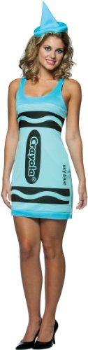 Crayola zeichnet Tank Dress - Adult Female Kostüm - Blau (Erwachsene Blau Crayon Kostüme)
