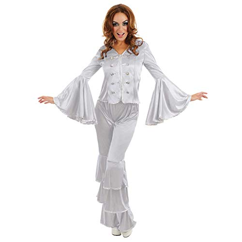 Silver Dancing Queen Costume. Silver Flares, Top and Button Detailing. Small Size only.