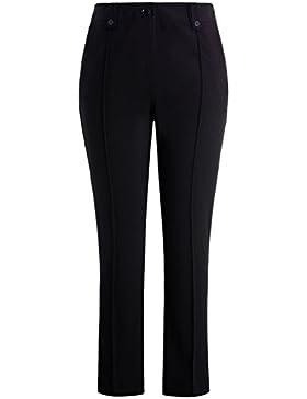 Chicwe Mujeres Tallas Grandes Elástico Sólido Pantalón Pierna Recta con Dos Patas en Cintura - Pantalones Casuales...