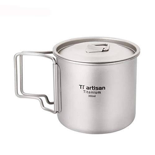 Calvinbi Titanium Topf Camping Tragbar Titan Wasser Tragbar Becher Tasse Klappgriff(300 ml,350 ml,420ml,550 ml,650 ml,750ml,900ml,1600ml)