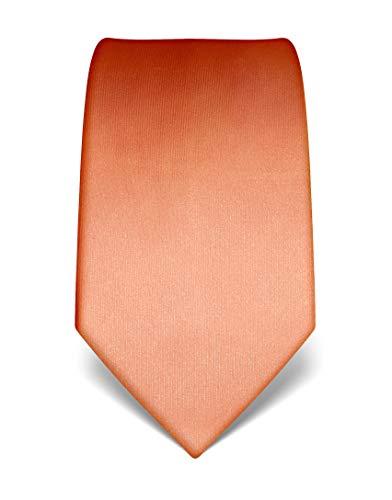 Vincenzo Boretti Herren Krawatte reine Seide uni einfarbig edel Männer-Design zum Hemd mit Anzug für Business Hochzeit 8 cm schmal/breit orange