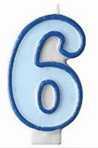 Kerze Nummer 6, hellblau ()