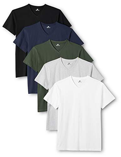 Lower East Herren T-Shirt mit V-Ausschnitt, 5er Pack, Mehrfarbig (Weiß/Schwarz/Grau/Blau/Grün), Large