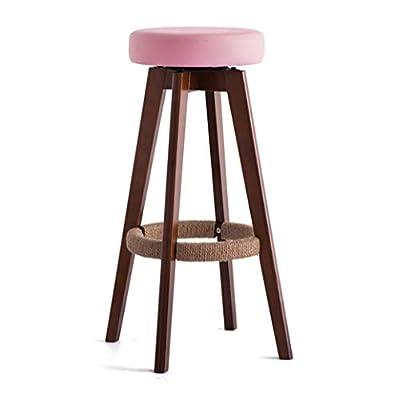 HJQ 360 ° rotierender Barhocker aus Holz Sitzpolster aus Holz, Hanfseil Fußstütze von HJQ - Gartenmöbel von Du und Dein Garten