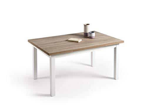 HOGAR 24 Mesa Multiusos Comedor Cocina Dimensiones 120 cm x 80 cm Extensible Libro a 190 cm x 80 cm Color Roble Cambrian y Blanco