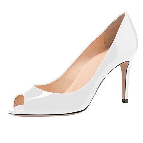 elashe Damen Peeptoe Pumps | 8cm Stiletto High Heel | Bequeme Lack Stilettos Weiß EU42
