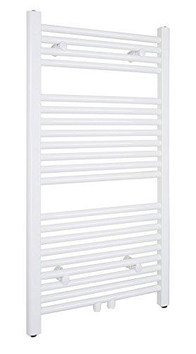 SixBros. R18 Badheizkörper (1000 x 500 mm, 463 Watt) - Heizkörper mit Handtuchhalter für das Bad - pulverbeschichtet - weiß - Glanz Weiß Pulverbeschichtet