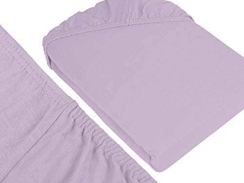 npluseins klassisches Jersey Spannbetttuch - erhältlich in 34 modernen Farben und 6 verschiedenen Größen - 100% Baumwolle, 90-100 x 200 cm, flieder - 3