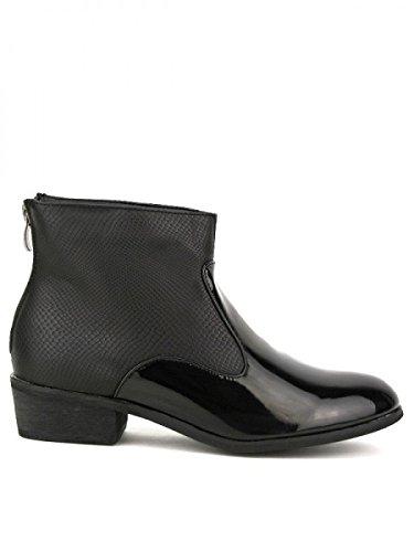 Cendriyon, Bottine Noire Bi matière LIO Mode Chaussures Femme Noir