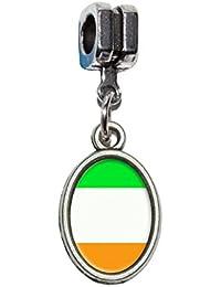 Drapeau de l'Irlande Euro européen italien Style Bracelet charm perle–Compatible avec Pandora, Biagi, Troll, Chamilla, d'autres