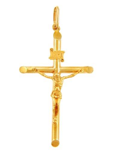 Kleine Schätze - 10 Karat Gold Kreuze und Kruzifixe - Gold Kruzifix - Kleine Anhänger Halskette (Kommt mit einem 45 cm Kette)