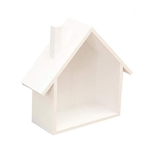 RUICK Holzhaus Form Wandregal Halter Deko-Hänger Box Creative House Regal Display Einheit Colorful Storage Craft Lebensmittels Organizer weiß -