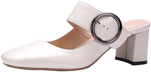 Calaier Femme Cawriter 5.5CM Bloc Glisser Sur Mules et sabots Chaussures Beige