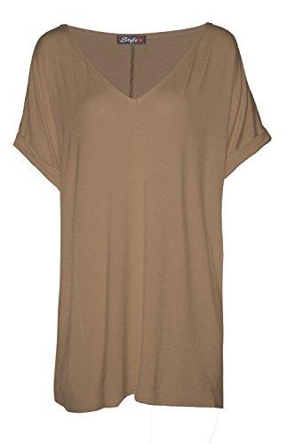 Frauen Plan Batwing V-Ausschnitt Baggy Überformat T-Shirt Oben Mokka