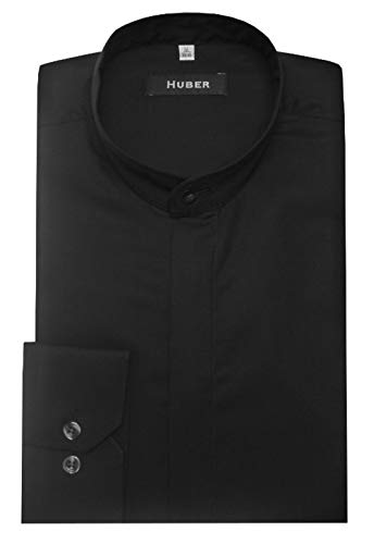 HUBER Stehkragenhemd verdeckte Knopfleiste schwarz L