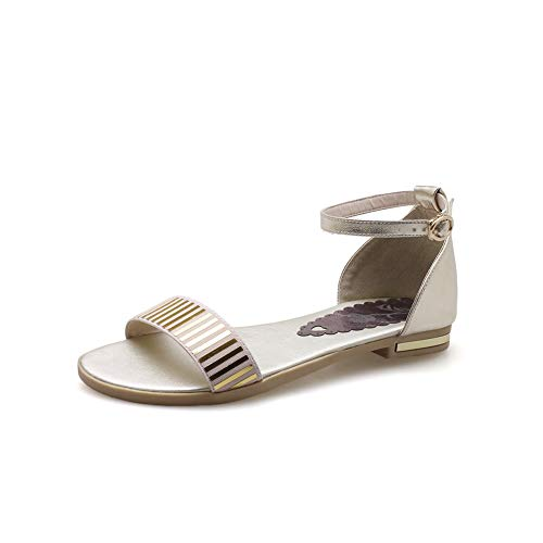 Aimint Damen EYR00491 Sandalen mit flachem Zehenbereich, oberer Schnitt, quadratischer Zehenbereich, Gold - Gold - Größe: 37 EU (Caged Keil Sandalen)