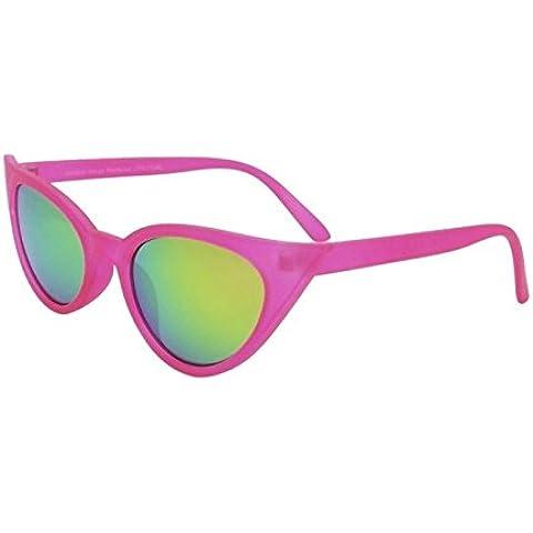 Rosa Rockabilly 50Donna Occhio di gatto occhiali da sole stile retrò con Sharp lenti Revo
