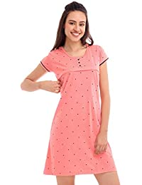 ZEYO Women's Cotton Pink & Peach Feeding Long top | Nursing Night Dress with Little Heart Print Half Sleeve Breastfeeding Night Gown Baby Feeding Short Nighty