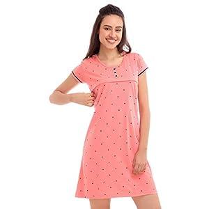 ZEYO Women's Cotton Pink & Peach Feeding Long top | Nursing Night Dress with Little Heart Print Half Sleeve Breastfeeding Night Gown Baby Feeding Short Nighty