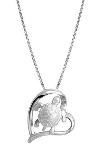 Sterling Silber Schildkröte und Herz Anhänger mit 18Box Kette Halskette von Honolulu Jewelry Company
