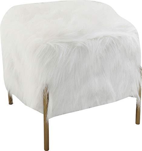 Kare 83330 Design Hocker Visible Fur, Schemel in Fell-Optik, Schlafzimmerhocker aus Kunstfell, Beistellhocker, Weiß (H/B/T) 40x37x37cm