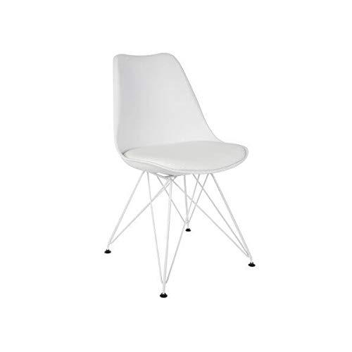 MATHI DESIGN Chaise XZ2 Metal & Simili Cuir Blanc